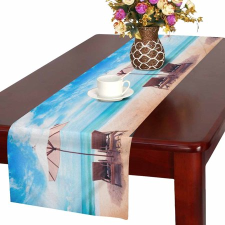 MKHERT Summer Tropical Hawaiian Beach Chairs on Sandy Beach near the Sea Table Runner Home Decor for Kitchen Dining Wedding Party 16x72 Inch](Hawaiian Table Runner)