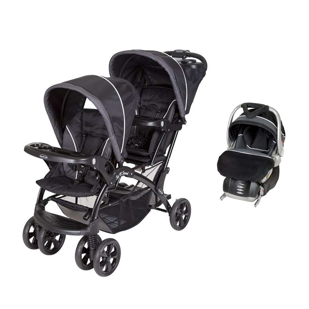 Baby Trend Double Sit N Stand Stroller + FlexLoc Infant Car Seat & Car Base-Onyx by Baby Trend