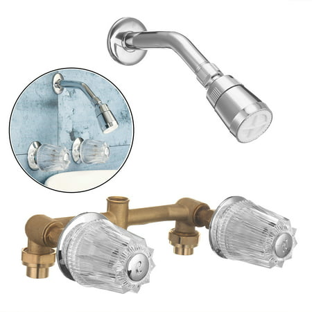 Xueqin Brass Double Crystal Handles Bathtub Basin Faucets Shower Faucet Spout  Cold And Hot Mixer Tap Wall Mounted