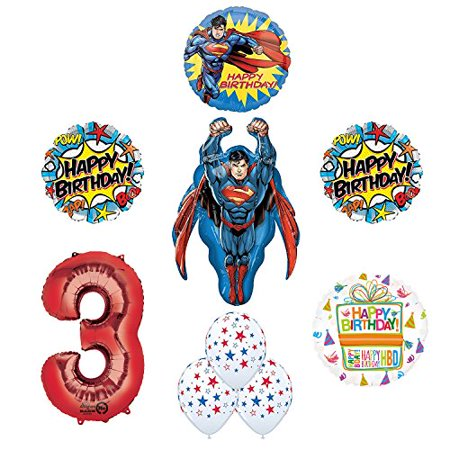 Superman 3rd Birthday Party Supplies and Balloon - Superman Balloon