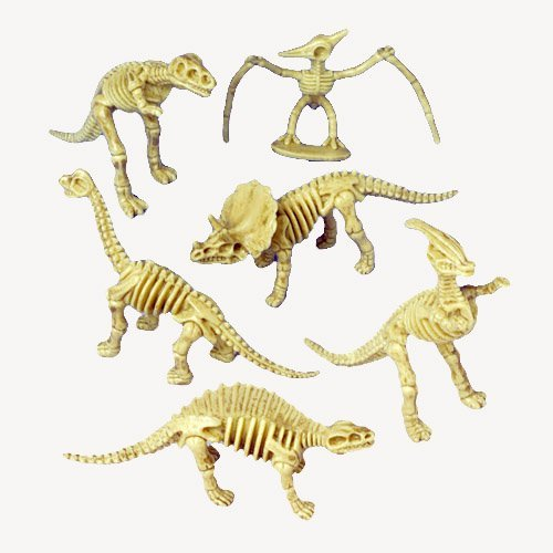 US Toy - Assorted Dinosaur Skeleton Toy Figures, Made of Plastic, Lot Of 12