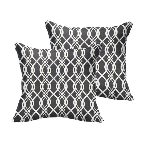 Mozaic Co Selena Wavy Black Indoor/ Outdoor Flange Square Pillows (Set of 2)