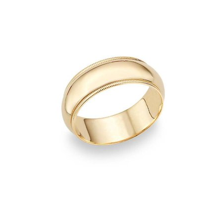 9mm Milgrain Plain High Polished Dome Wedding Band 10k White, Yellow, Rose Gold