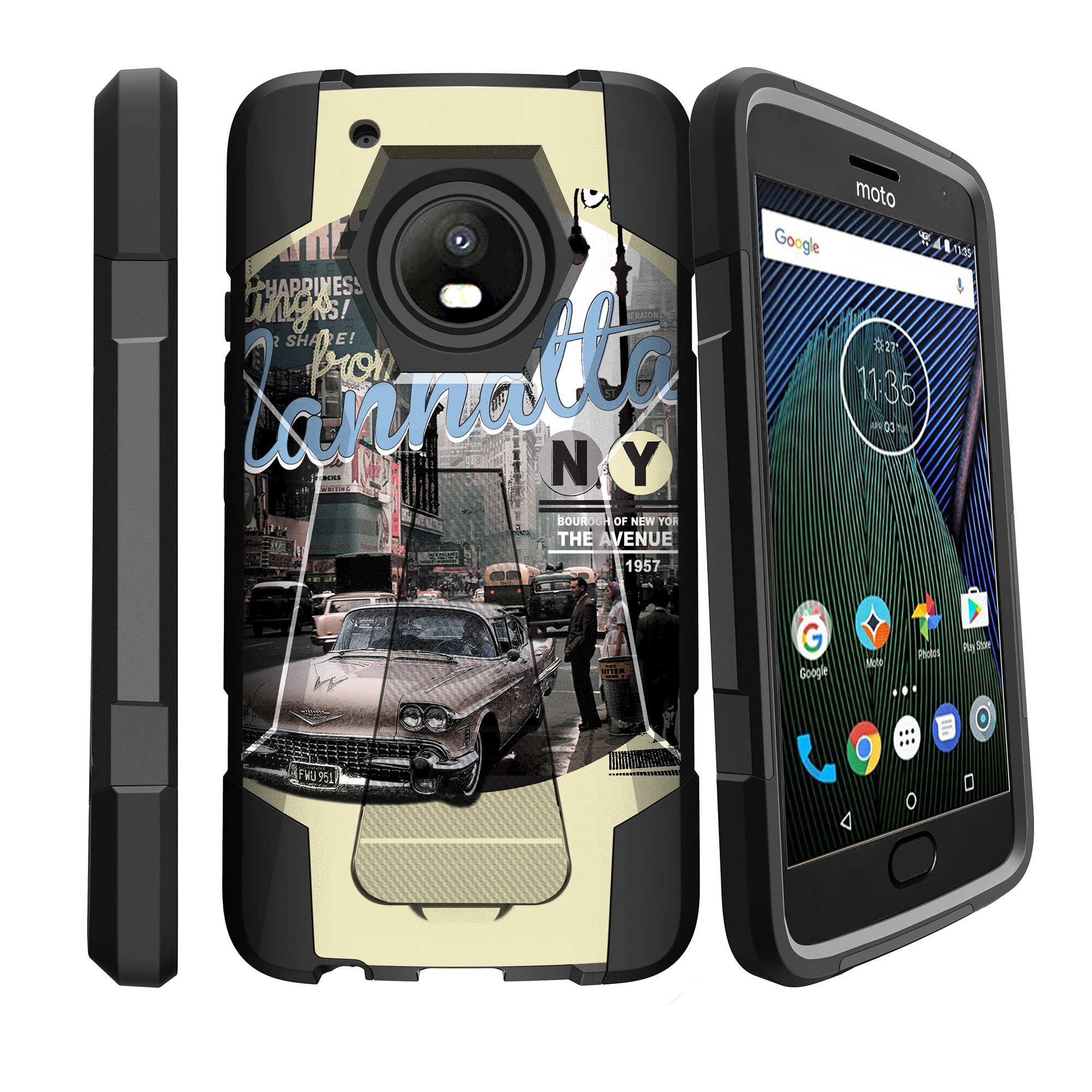Case for Motorola Moto G5 Plus| G Plus (5th Gen) [ Shock Fusion ] Hybrid Layers and Kickstand Case Auto Collection