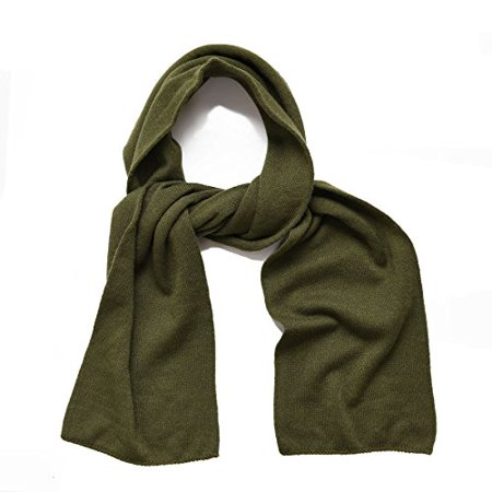 Knit Kids Scarf - SANREMO Unisex Kids Plain Knitted Warm Winter Outdoor Scarf Shawl (Olive Green)