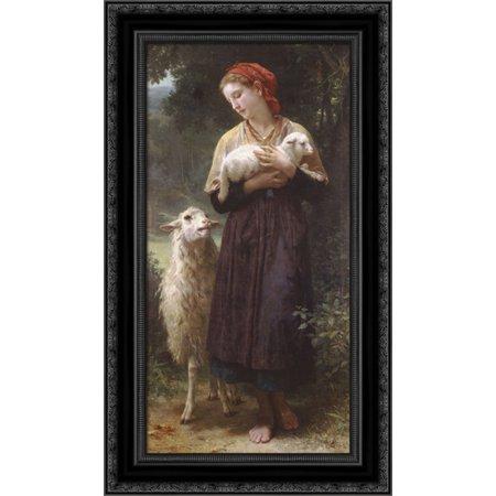 The Newborn Lamb 16x24 Black Ornate Wood Framed Canvas Art by Bouguereau, William Adolphe