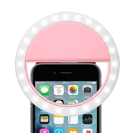 Led Ring (Selfie Ring Light, Selfie Light, by DreamWireless Rechargable Selfie LED Ring Flash Fill Light Clip Beauty Camera w/Brightness for iPhone X 8 7 6s Plus Samsung Galaxy S8 S9 LG)