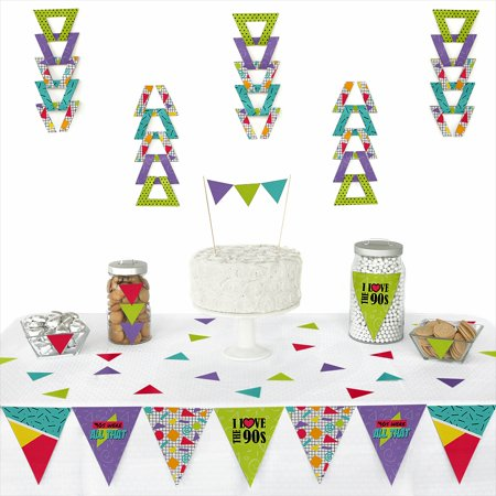 90's Throwback - Triangle 1990s Party Decoration Kit - 72 - 90s Decorations Ideas