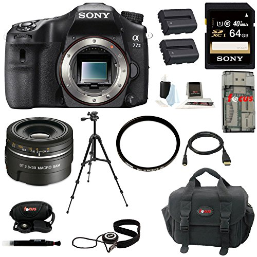 Sony ILCA77M2 ILCA-77M2 A77II Digital SLR Camera (Body Only) + Sony SAL30M28 30mm f 2.8 Lens for Alpha Digital... by Focus Camera
