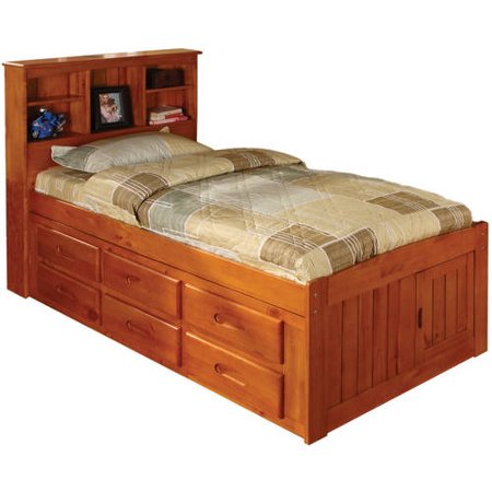 American Furniture Classics Twin Platform bed with bookcase headboard and six drawers of storage in a honey finish.