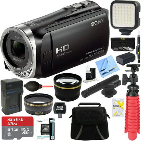Sony HDR-CX455/B Full HD Handycam Camcorder with Exmor R CMOS Sensor + MIC-403 Mini Zoom Microphone + 64GB MicroSDXC Accessory Bundle