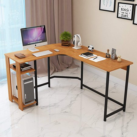 Dl Furniture L Shaped Office Desk Computer Table Personal Working E Lapdesk Corner Set With Wood Surface Board Steel Frame Support For