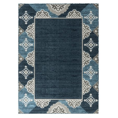 Newport Collection - Navy Blue Abstract Bordered / Border Area