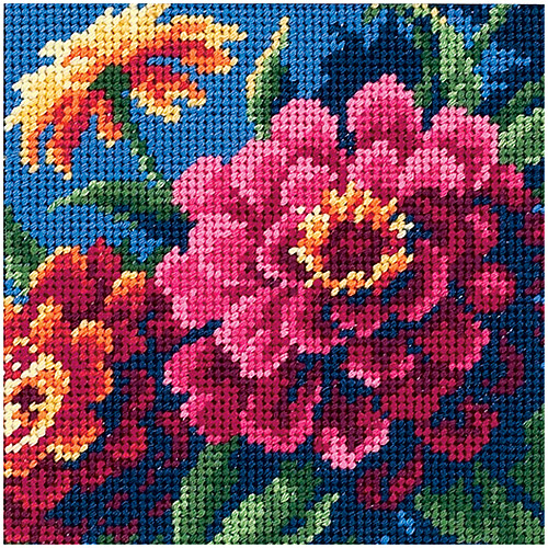 "Dimensions ""Zinnias"" Mini Needlepoint Kit, 5"" x 5"", Stitched in Thread"