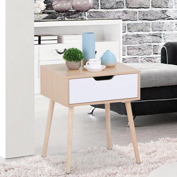 Yaheetech Walnut Bedside Table Solid Wood Legs Nightstand With White Storage Drawer Com - Solid Oak Side Table With Drawers