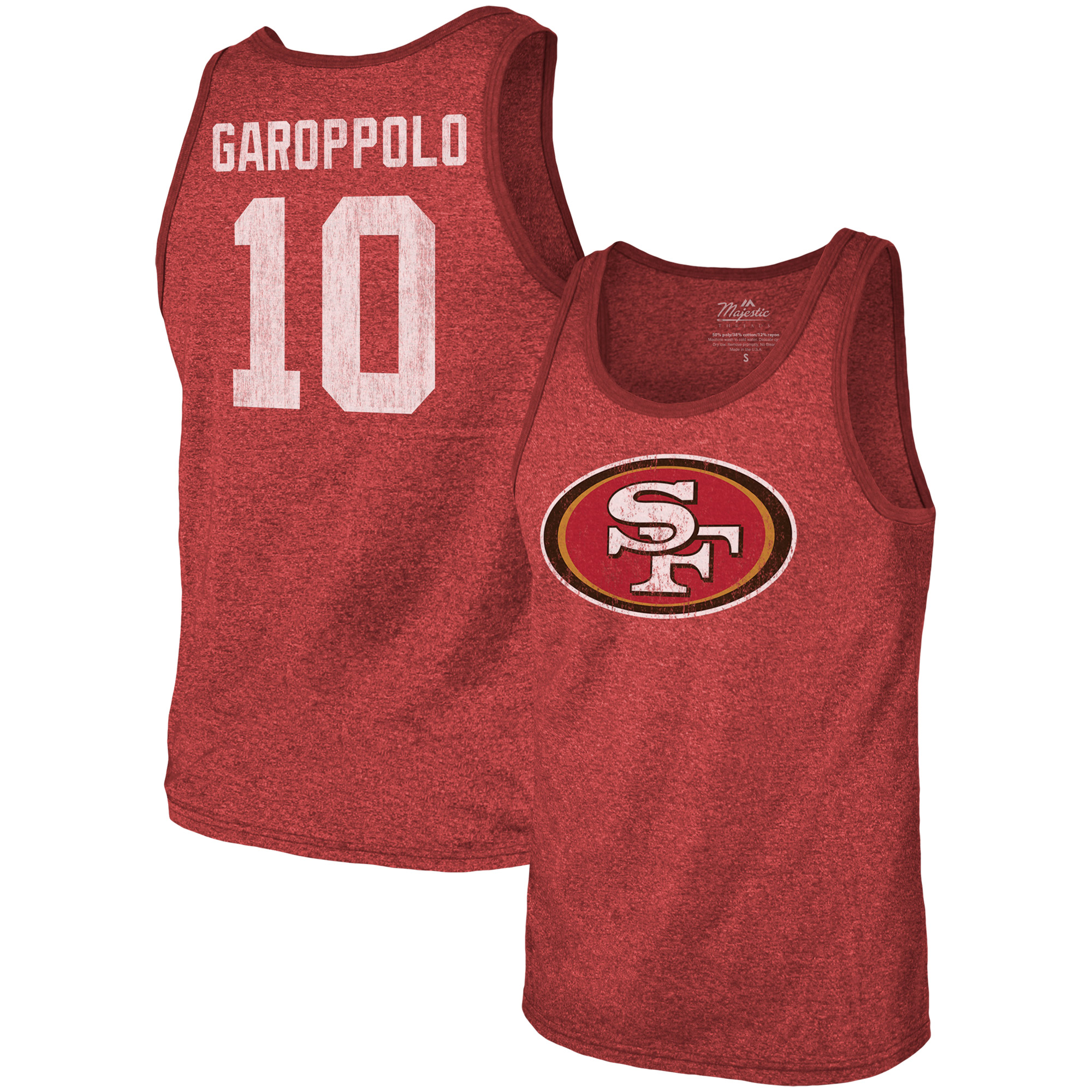 Jimmy Garoppolo San Francisco 49ers Majestic Threads Tri-Blend Name & Number Tank Top - Red