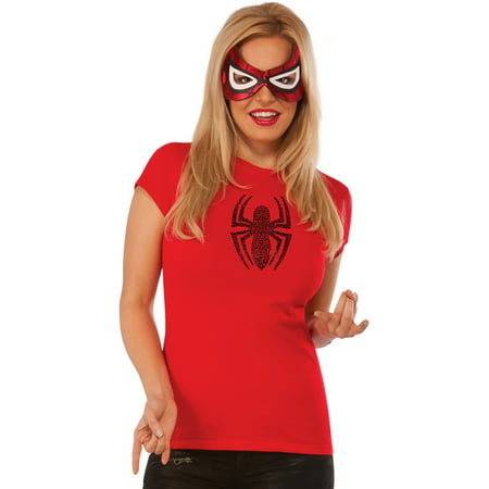 Womens Adult Spider Girl Rhine Stone T-Shirt And Mask Set Costume Large 10-12