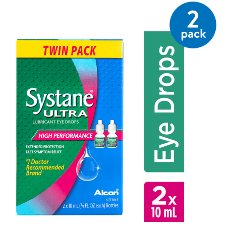 Pet Vision Eye Drops - (2 Pack) Systane Ultra Lubricant Eye Drops High Performance, 2 PK, 0.33 FL OZ