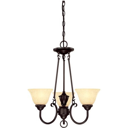 Westinghouse 6222400 Elena 3-Light Single Tier Up Lighting Chandelier with Antique Amber Glass (Casual 3 Tier Lighting)
