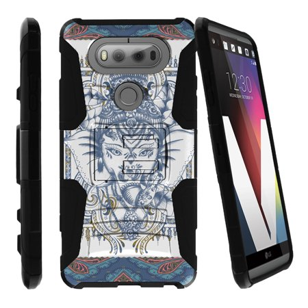 LG V20 Case | V20 Case Shell [Clip Armor]- Premium Defender Case Hard Shell Silicone Interior with Kickstand and Holster by Miniturtle® - Elephant Blue Ethnic