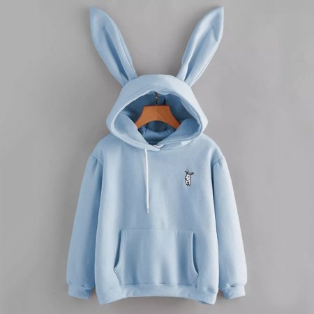 Womens Rabbit Ear Girl Long Sleeve Hoodie Sweatshirt Hooded Coat Top Blouse Cute Blue Size - Hoodie With Ears