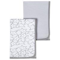 Little Star Organic 100% Pure Organic Cotton Receiving Blanket, 2 Pk, Gray-Little Dreamer
