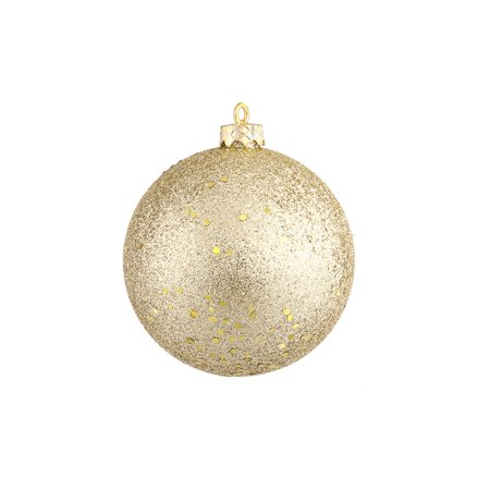 """Champagne Gold Holographic Glitter Shatterproof Christmas Ball Ornament 4"""" (100mm)"""