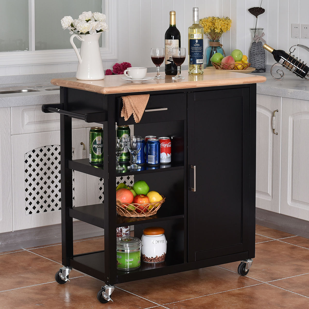 costway 4tier rolling wood kitchen trolley cart island storage cabinet shelf drawer