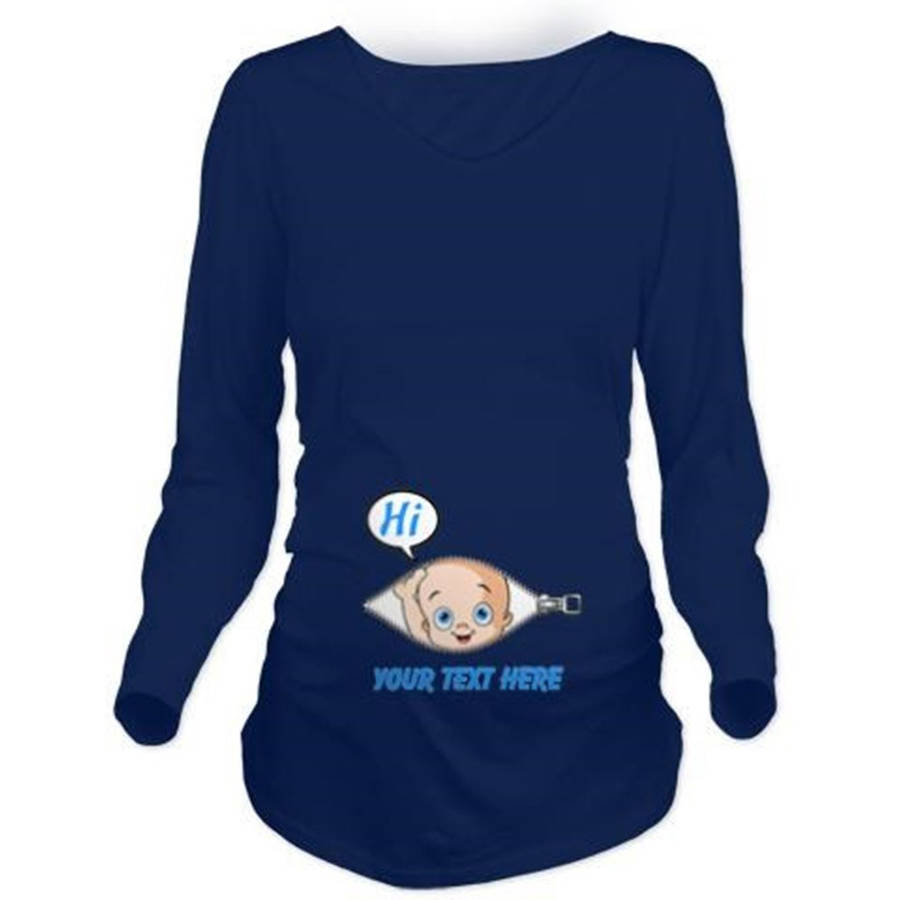 Cafepress Personalized Blue Baby Boy Peek A Boo Long Sleeve Maternity Dark T-Shirt