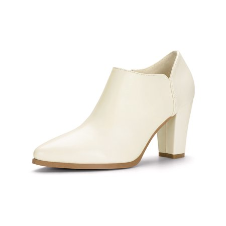 - Women's Pointed Toe Block High Heels Ankle Boots Ivory (Size 10)