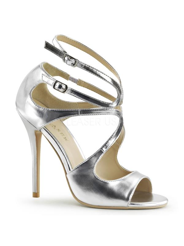 "AMU15/SMPU Pleaser Single Pu Soles 5"" Heel Shoes Slv Met Pu Single Size: 10 1fe263"