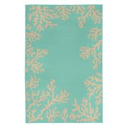 Liora Manne Terrace 1783/93 Coral Border Turquoise Area Rug 39 Inches X 59 Inches