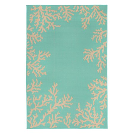 Terrace Patio Rug - Liora Manne Terrace 1783/93 Coral Border Turquoise Area Rug 23 Inches X 35 Inches