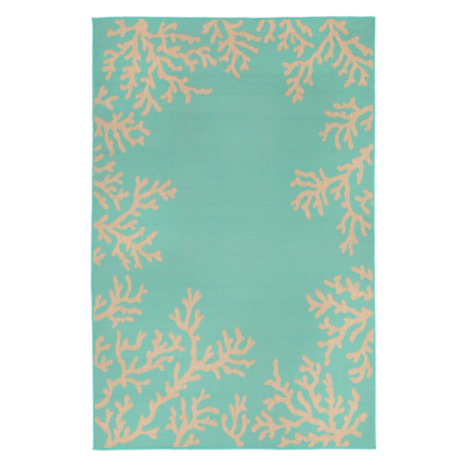 Liora Manne Terrace 1783/93 Coral Border Turquoise Area Rug 23 Inches X 35 Inches