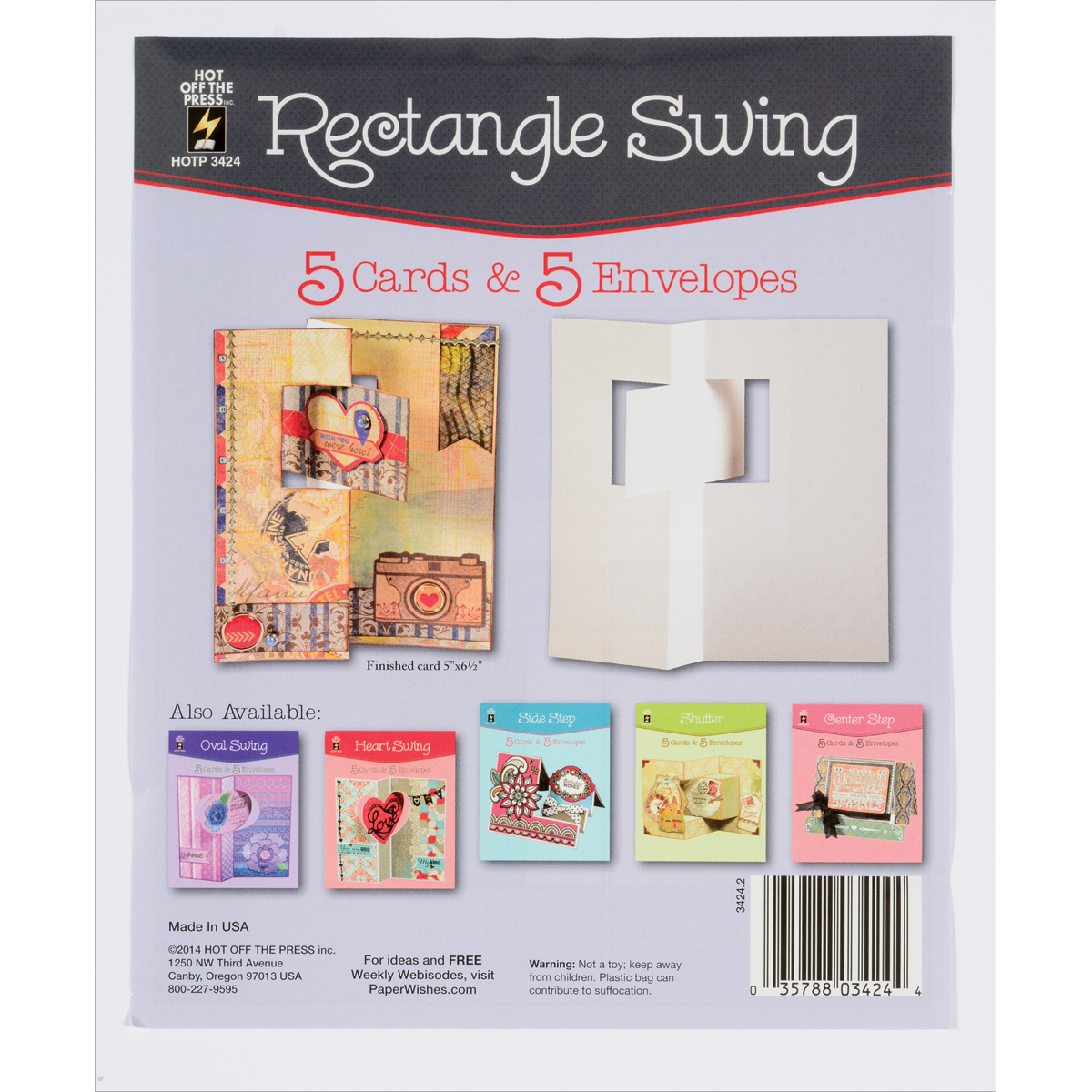 Hot Off The Press Die-Cut Cards W/Envelopes 5/Pkg-Rectangle Swing