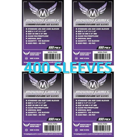 Mayday Games 7040 Clear Sleeves 56x87mm Standard USA Game Size (4x100 Pack, 400 sleeves), Sleeves to protect 56 MM X 87 MM (2.25 X 3.5) cards By Mayday Games Standard Card