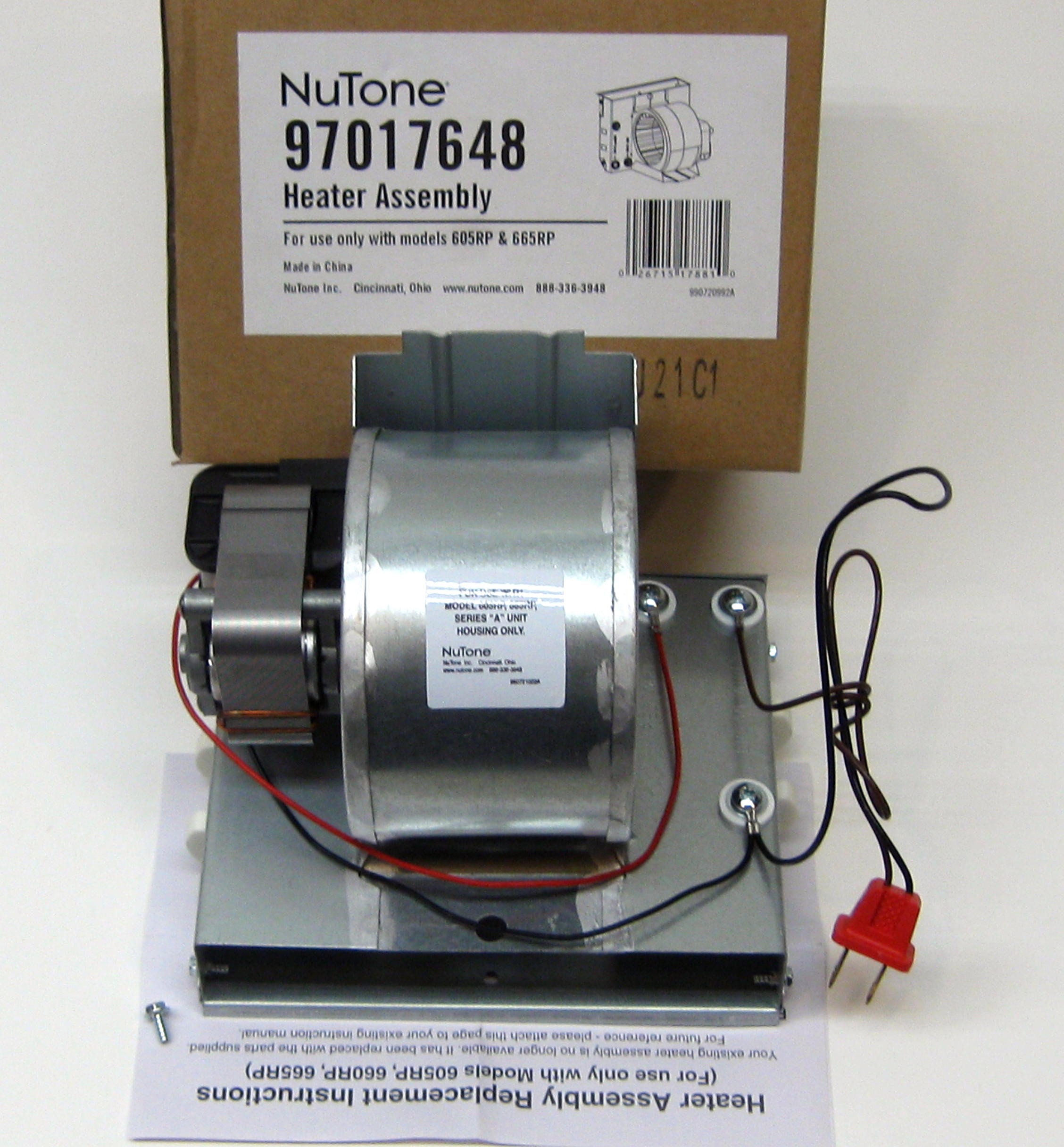 Broan Nutone Motor  990805936  and Heater Assembly 97017648 for 665RP 605RP    Walmart com. Broan Nutone Motor  990805936  and Heater Assembly 97017648 for