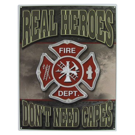 Maltese Cross Real Heroes Firefighter Sign Home Bar Pub Garage Shop Wall Decor