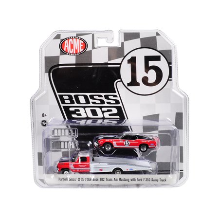 1969 Ford 302 - 1968 Ford F-350 Ramp Truck & 1969 Ford Mustang Boss 302 Trans Am #15 1/64 Diecast Cars Acme Exclusive by Greenlight