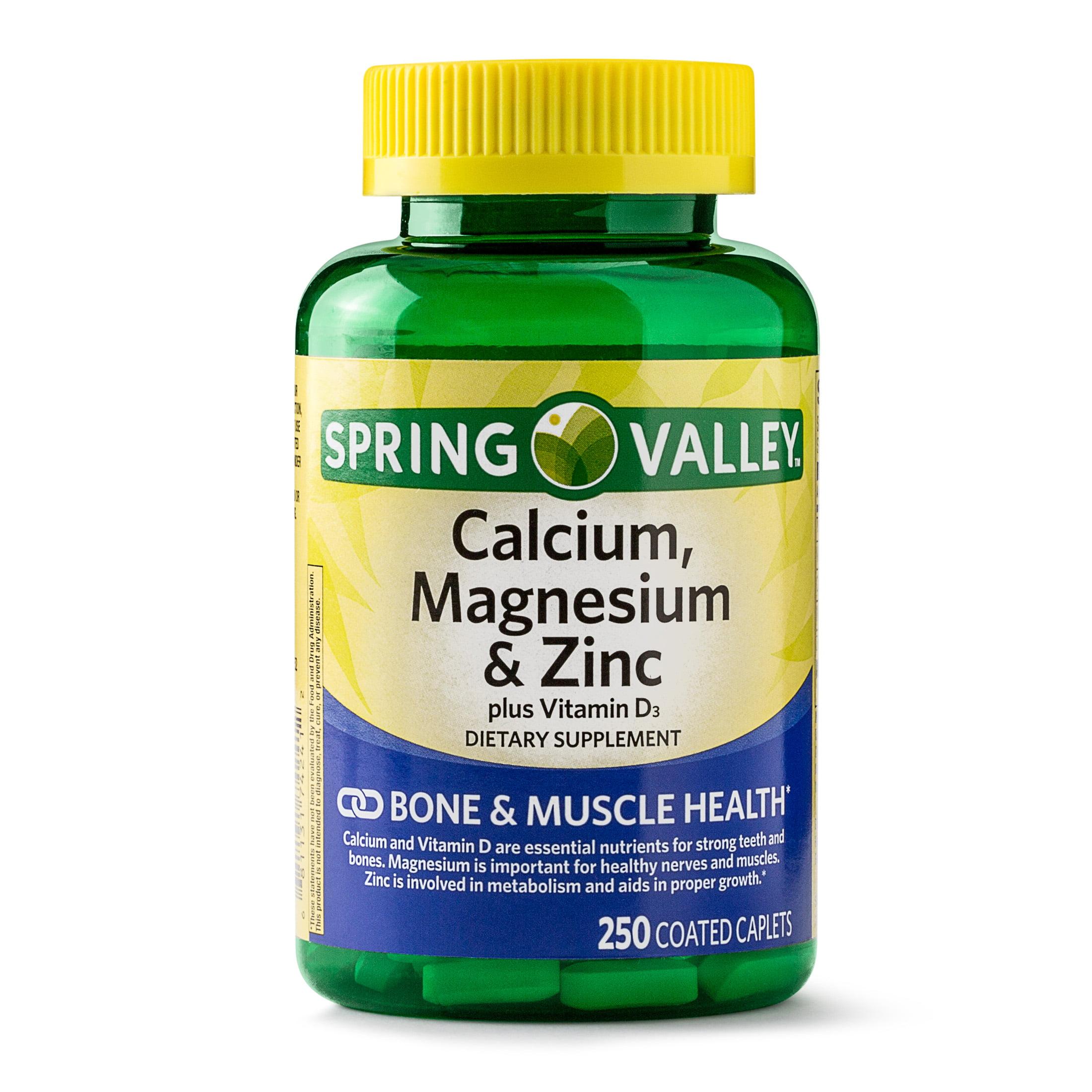 Spring Valley Calcium, Magnesium & Zinc Coated Caplets, 250 Ct