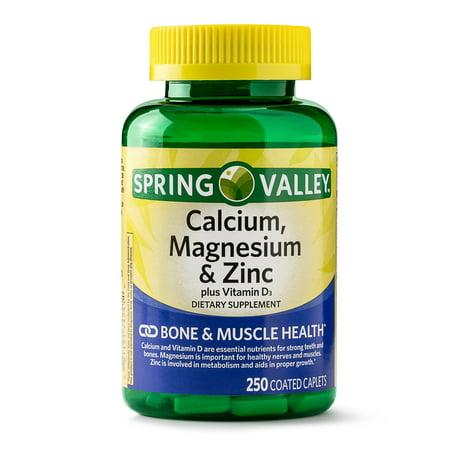 Calcium Magnesium Potassium (Spring Valley Calcium, Magnesium & Zinc Coated Caplets, 250)