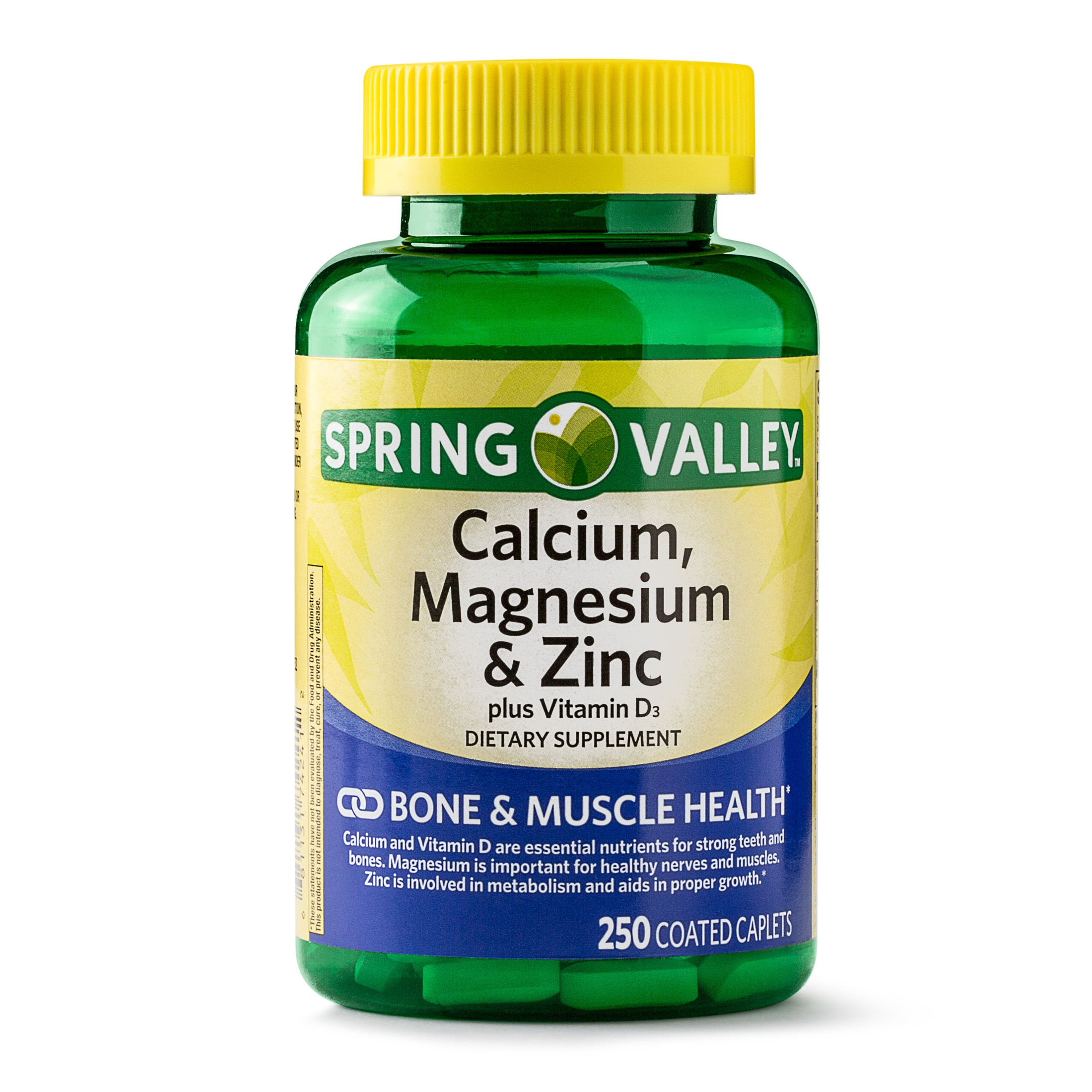 Spring Valley Calcium, Magnesium & Zinc Coated Caplets, 250 Ct