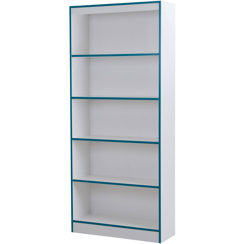 5 Shelf Bookcase Black White Gray Brown Storage