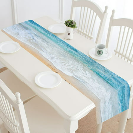 MYPOP Beach and Sea Table Runner Home Decor 14x72 Inch, Coastal Ocean Wave Table Cloth Runner for Wedding Party Banquet Decoration