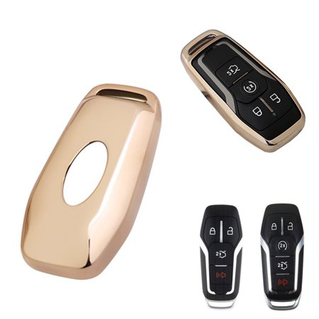 Glossy Remote Soft TPU Key Fob Cover Case Gold For Ford or Lincoln 4 / 5  Button Intelligent Keyless