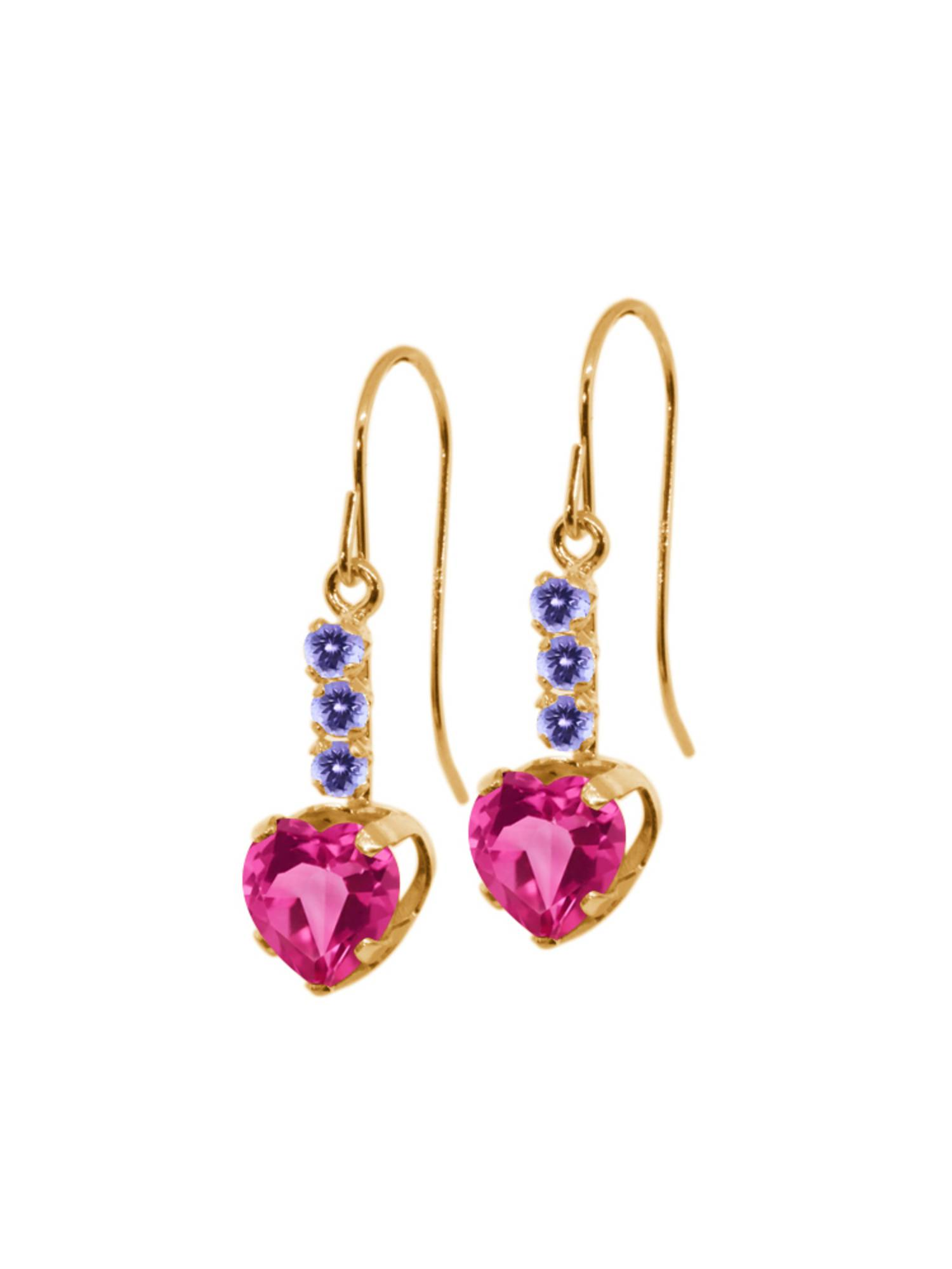 2.38 Ct Pink Created Sapphire Blue Tanzanite 14K Yellow Gold Earrings by