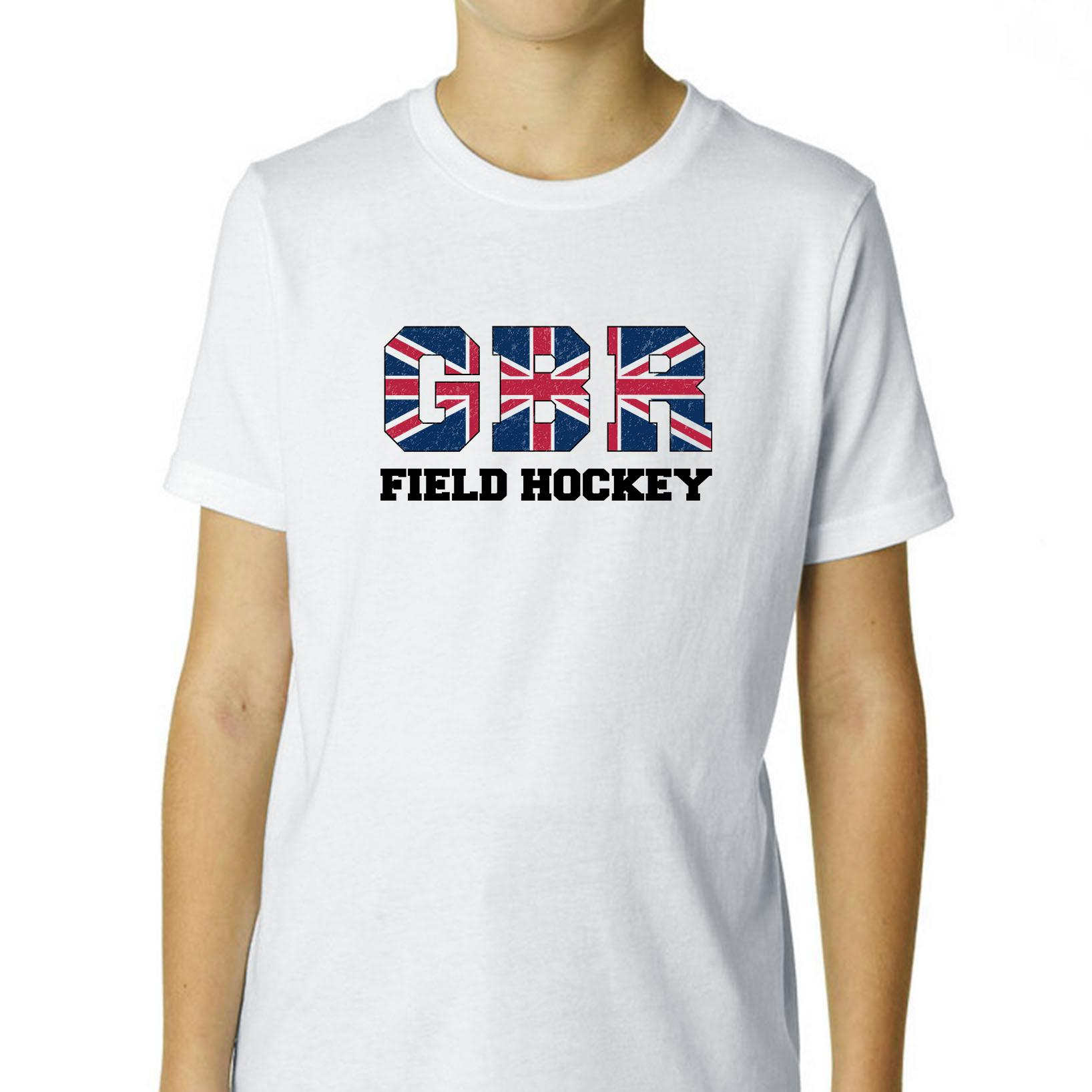 Great Britain Field Hockey Olympic Games Rio Flag Boy's Cotton Youth T-Shirt by Hollywood Thread