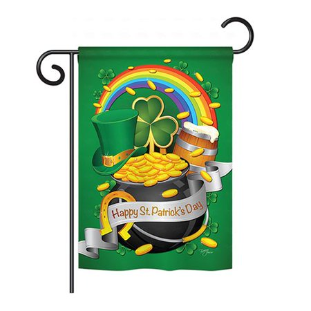 Breeze Decor Happy St. Patrick's Day 2-Sided Vertical Flag