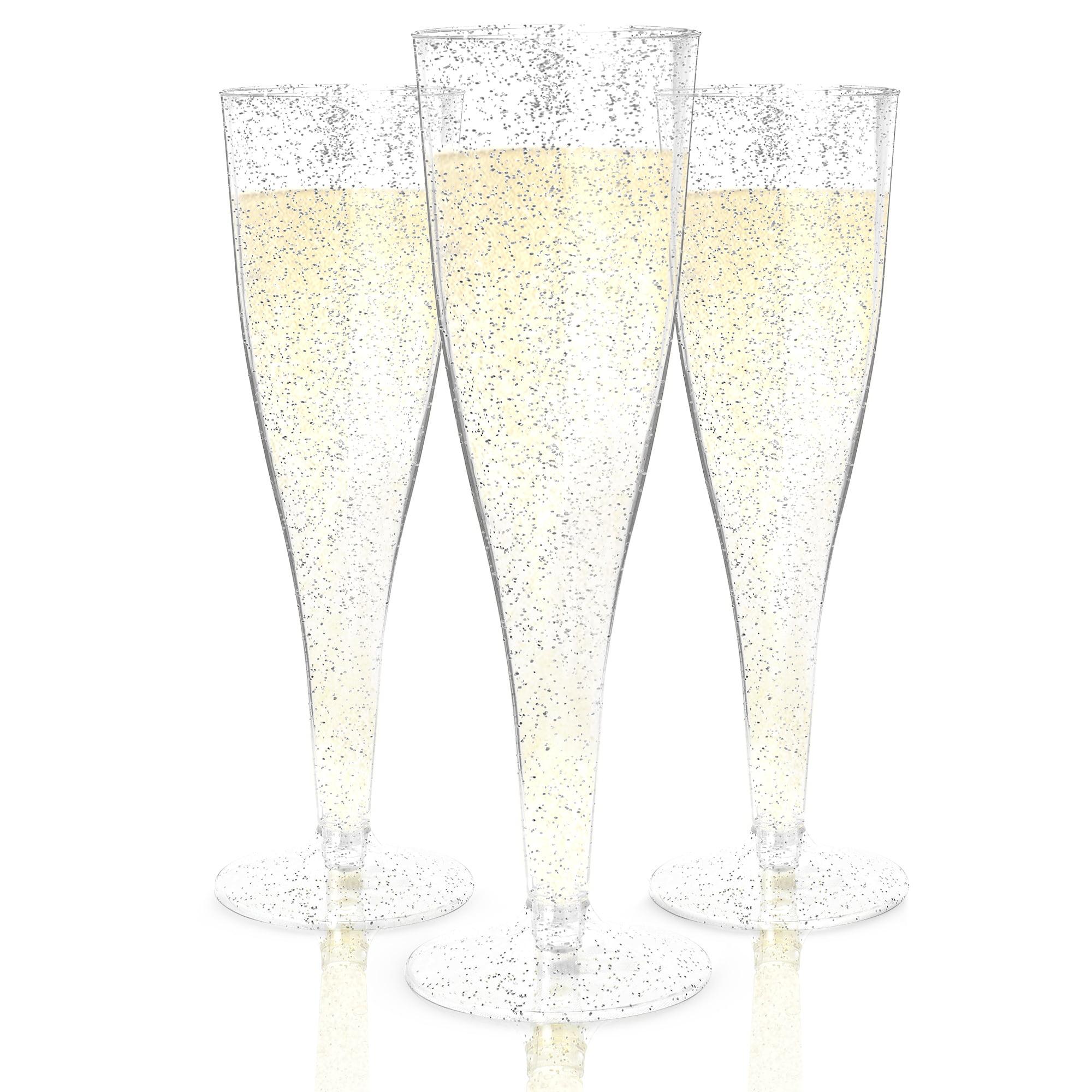 Host & Porter Silver Glitter Plastic Champagne Flutes, 5oz, 50 Count