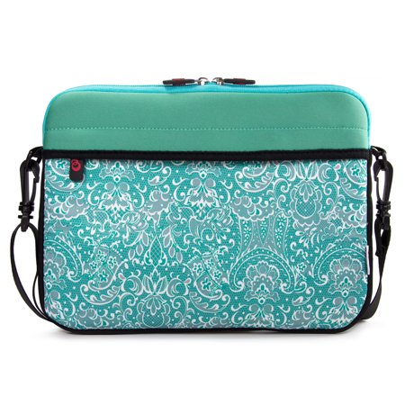 "13"" inch Slim Neoprene Messenger Laptop & Tablet Bag, Water Resistant Cover Sleeve Case for MacBook Pro, Google Pixelbook, Chromebook (Aqua - Paisley Print)"